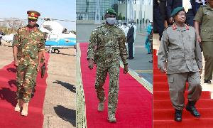 L - R: Zambia's Edgar Lungu, Mali's Assimi Goita, Uganda's Yoweri Museveni