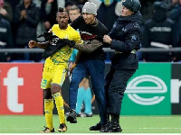 The fan got his moment with Twumasi after jogging unto the pitch before he was escorted off