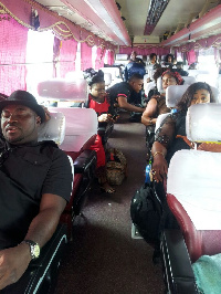 Some Kumawood stars in a bus to Accra
