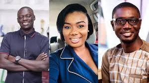 Media personality Bridget Otoo (M), Michael Oti-Adjei and Ameyaw Debrah