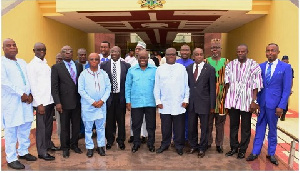 President Akufo-Addo in a group photograph with his Regional Minsters-designate