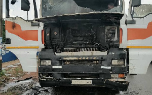 A photo of a burnt gas tanker