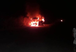 The Accra-bound bus in flames in the early hours of Saturday