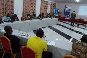 Professor Felix Ankomah Asante addressing participants on internal capital mobilisation
