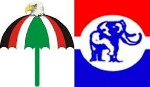 Logos of the governing NPP and the opposition NDC in a collage