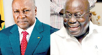 Former President John Mahama (L) and President Akufo-Addo