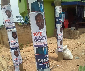 Vice President, Dr Mahamudu Bawumia's campaign posters covered with Dr Adomako's posters
