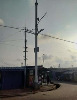 A CCTV camera on a pole around Mamprobi