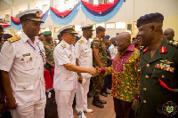 President Akufo Addo exchanging pleasantries with a navy officer