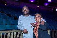 Burna Boy and his mum at the venue ahead of tomorrow's concert