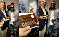 Shatta Wale with the Mayor of Worcester Joseph Petty