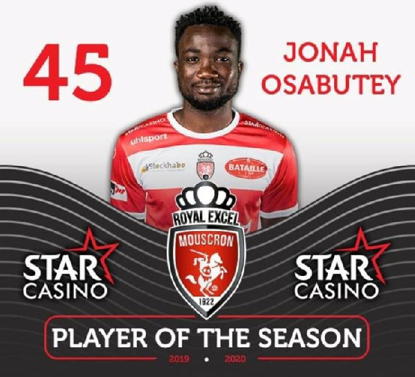 Jonah Osabutey becomes Royal Excel Mouscron\'s player of the season
