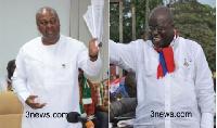 NDC Flagbearer, President John Mahama (left), NPP Flagbearer, Nana Akufo-Addo (right)