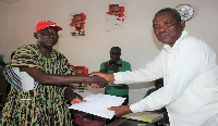 Emmanuel Andema filing his nomination to contest the Navrongo Central NDC Parliamentary primaries