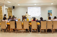Uniterra Sector program officer, Awudu Zakaria giving a presentation