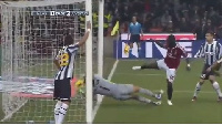 Muntari's goal was disallowed by referee Paolo in a game against Juventus