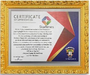The plaque from Hearts of Oak Chapter 89