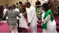 The Pastor led Mahama and family in a dance on Sunday