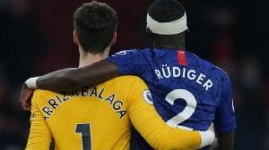 Antonio Rudiger tare da Kepa Arrizabalaga