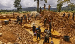 Some young men are picture here engaging in illegal mining (File photo)