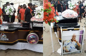 The actor was buried in a camera-shaped coffin