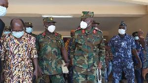 Major General Dr Emmanuel Kotia with Douti Lardja during engagement