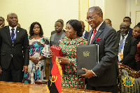 The agreement was signed by Shirley Ayorkor Botchwey and Manuel Domingos Augusto