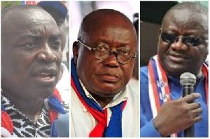 Suspended Gen. Sec. Kwabena Agyepong, Flagbearer Nana Akufo-Addo and Paul Afoko in an enhanced photo
