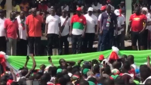 Former President Mahama speaking at the NDC's unity walk in Tarkwa