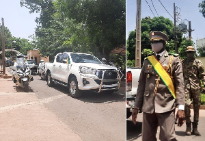 President Goita arrived for his investiture in a Toyota pickup