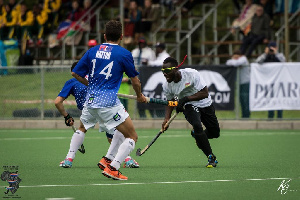Flashback: Elorm Akaba (right) playing with an eye injury against Namibia
