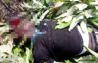 The lifeless body of Eric Bayor after he was hit by the oil tanker