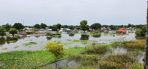 The floods submerged parts of the towns including gas stations