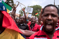 Protesters in Accra, Ghana, demonstrated Wednesday against a military agreement with the US