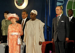 A meeting between Nigerian head of state Olusegun Obasanjo and the British Crown