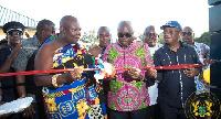 Aflao Paramount Chief, Torgbui Adzonugaga Amenya Fiti and President Akufo-Addo