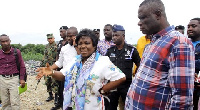 Cecilia Abena Dapaah, Minister for Sanitation and Water Resources on a tour in Accra