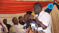 Sammy Awuku swearing in the newly elected Greater Accra Regional executives