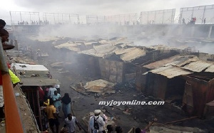 The entire market was burnt down leaving only cement structures.