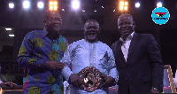 Azumah Nelson (middle) with his new WBC belt