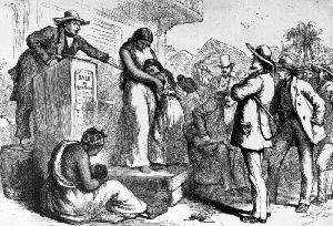 A circa 1830 illustration of a slave auction in America
