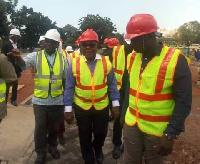 Rt Honourable Prof Michael Aaron Ocquaye inspecting the project