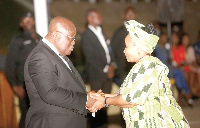 President Nana Addo Dankwa  Akufo-Addo shaking hands with Madam Lulu Xingwana (right), the South Afr