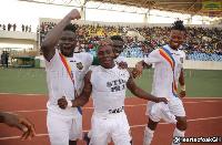 Razak joined by his teammates to celebrate the wonderful goal