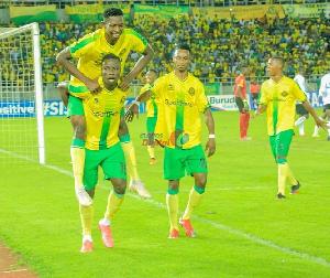 Ghanaian attacker, Michael Sarpong and his teammates