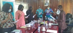 The nine-member advisory board members taking their oath