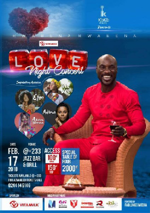 Rate: 100 regular: 150 VIP and special Valentine tables for Ghs2000