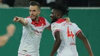 Nuhu celebrate his goal with a mate