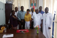 National Youth Organizer of NDC flanked by organizers of #IChooseJM