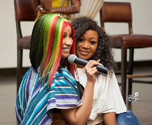 Cardi B took this photo with Akuapem Poloo during her stay in Ghana in 2019